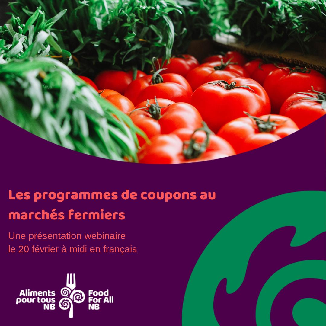 Programmes de coupon aux marchés fermiers