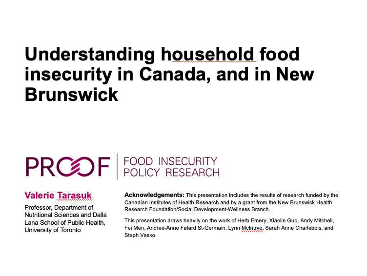 Understanding household food insecurity in Canada, and in New Brunswick
