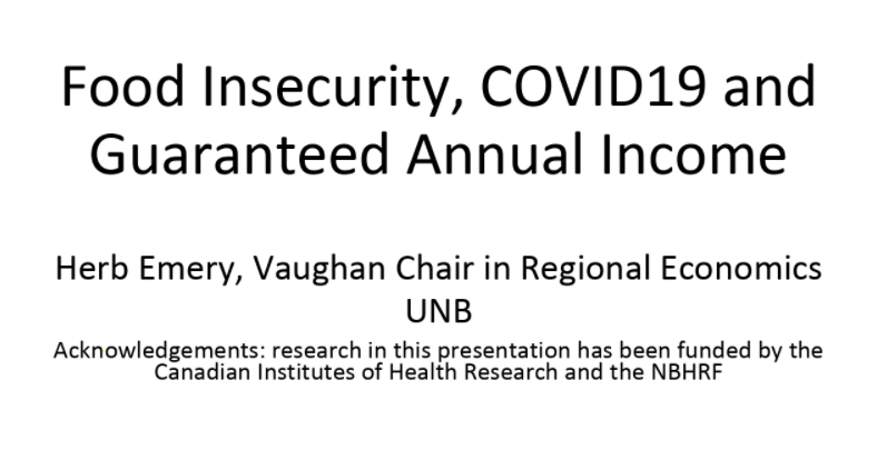 Food Insecurity, COVID19 and Guaranteed Annual Income